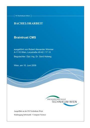 2. Bachelorarbeit: Braintrust CMS - Robert Wimmer