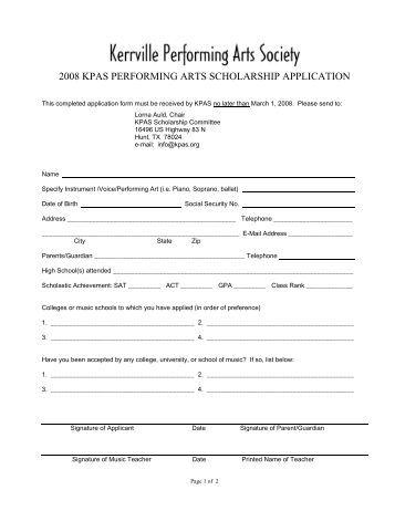 2008 KPAS PERFORMING ARTS SCHOLARSHIP APPLICATION