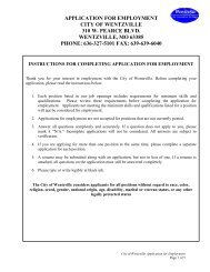 APPLICATION FOR EMPLOYMENT - The City of Wentzville | Missouri