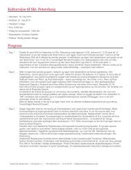Kulturrejse til Skt. Petersborg Program - Akademisk Rejsebureau
