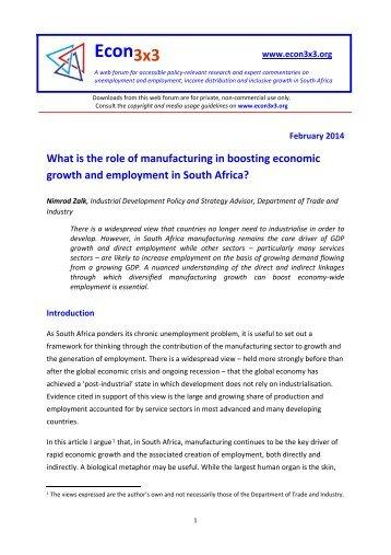 Zalk 2014 Industrialisaton and Employment FINAL