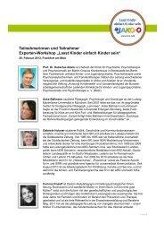 Teilnehmerinnen und Teilnehmer Experten-Workshop ... - Jako-o