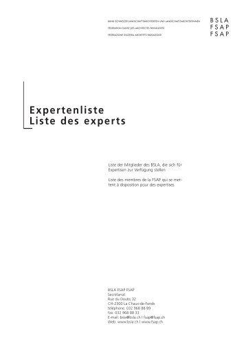 Expertenliste Liste des experts - BSLA