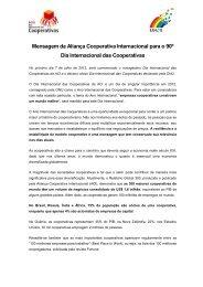 Mensagem da Aliança Cooperativa Internacional para o 90º Dia ...