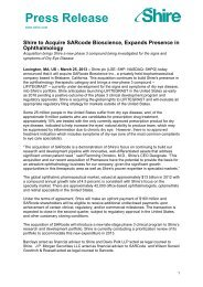 25 Mar 2013 Shire to Acquire SARcode Bioscience, Expands ...