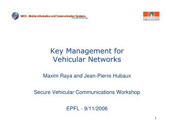 Key Management for Vehicular Networks - Sevecom