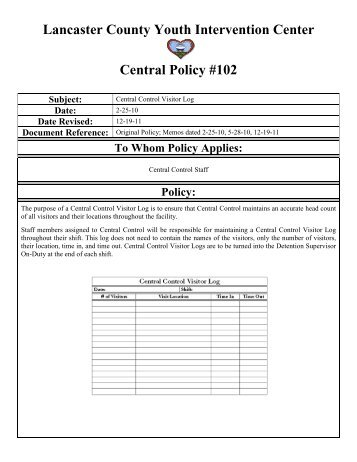 Lancaster County Youth Intervention Center Central Policy #102 ...