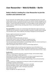 User Researcher – Web & Mobile – Berlin Nokia in ... - Human Factors