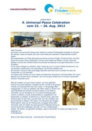 9. Universal Peace Celebration vom 22. – 26. Aug ... - Schweibenalp