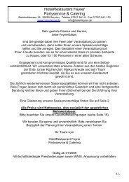 Geschäftsbedingungen für Partyservice & Catering - Hotel Feyrer