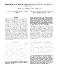 experiments in speaker adaptation for factor analysis based ... - CRIM