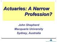 Actuaries: A Narrow Profession?