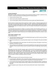 Bette Whirlpool Warranty Information & Notes - Argent Australia