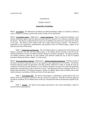 Crystal City Code 900.01 CHAPTER IX PUBLIC ... - City of Crystal