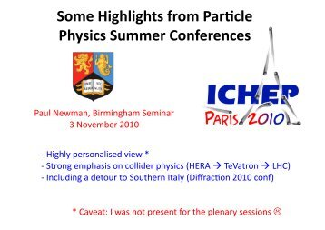 Some Highlights from Par cle Physics Summer Conferences
