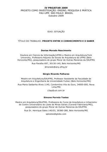 Projetar 2009 - Escola de Arquitetura - UFMG