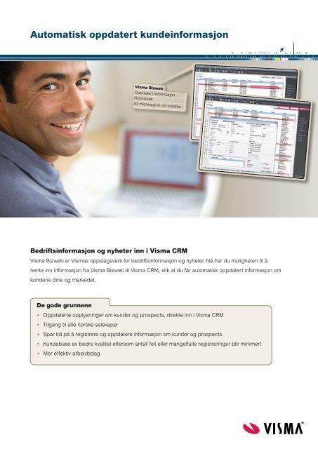 BizWeb integrasjon med Visma CRM - Proplan AS