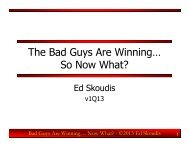 The Bad Guys Are Winning… So Now What?