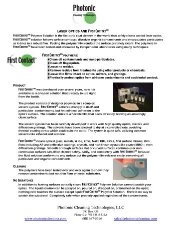 Laser Optics& First Contact-cpixpro - Photonic Cleaning Technologies