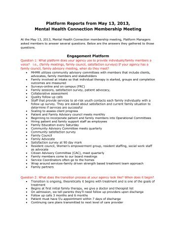 Platform Reports from May 13, 2013, Mental Health Connection ...