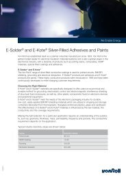E-Solder® and E-Kote® Silver-Filled Adhesives and Paints - Von Roll