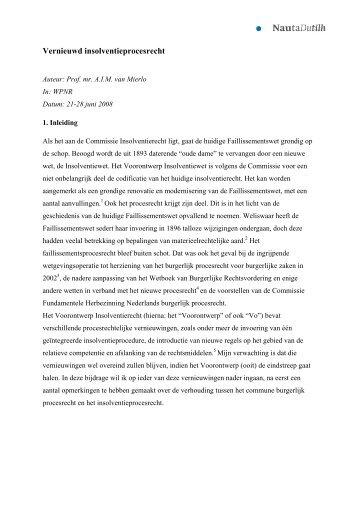 Vernieuwd insolventieprocesrecht - NautaDutilh