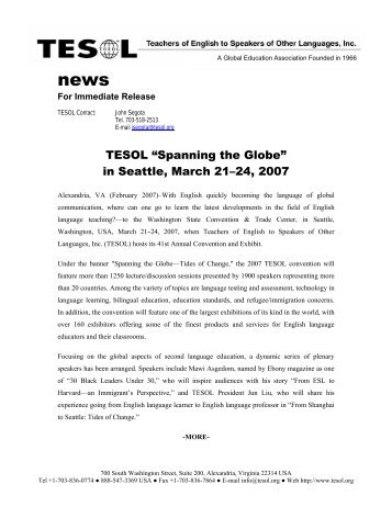 """""""Spanning the Globe"""" in Seattle, March 21–24, 2007 - TESOL"""