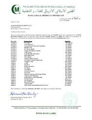IFANCA HALAL PRODUCT CERTIFICATE - Amway