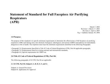 Statement of Standard for Full Facepiece Air Purifying Respirators ...