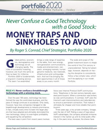 MONEY TRAPS AND SINKHOLES TO AVOID