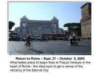Return to Rome – September 21 – October 5, 2005 Get an ... - Untours