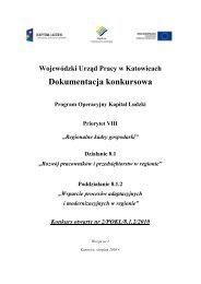 Dokumentacja konkursowa - EFS WUP Katowice - Wojewódzki ...