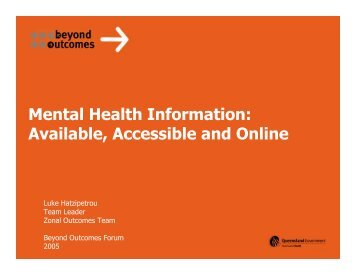 Mental Health Information: Available, Accessible and Online