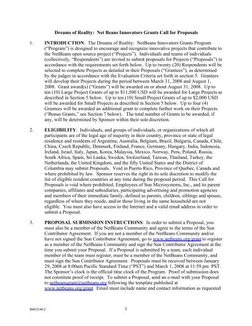 NetBeans Innovators Grants Call for Proposals (pdf)