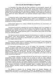 Ante la Ley de Libertad Religiosa en Argentina