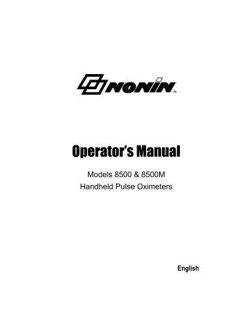 Models 8500 & 8500M Handheld Pulse Oximeters