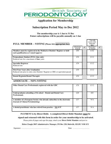 Application for Membership Subscription Period May to Dec 2012