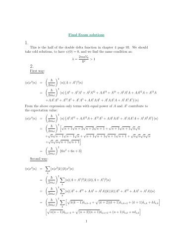 Final Exam solutions This is the half of the double delta function in ...