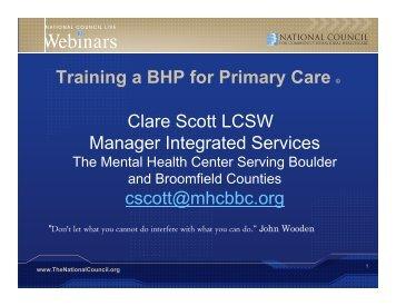 Preparing Behavioral Health Staff to Work in Primary Care