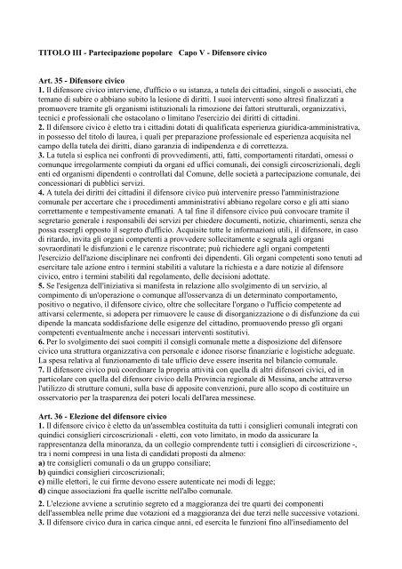 Capo V - Comune di Messina