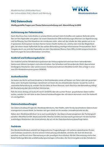 FAQ Datenschutz - am Westküstenklinikum!