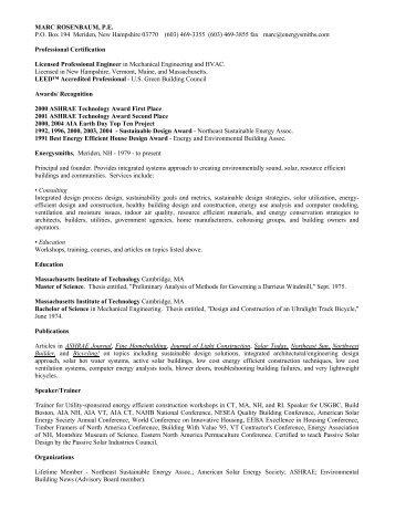 MARC ROSENBAUM, P.E. P.O. Box 194 Meriden ... - Energysmiths