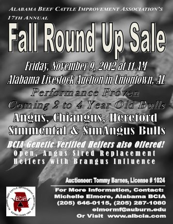 Front Cover-2012 Fall Round Up Sale Catalog - AL BCIA