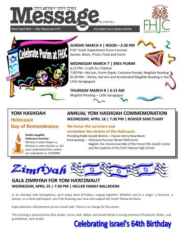 March-April Final - Forest Hills Jewish Center