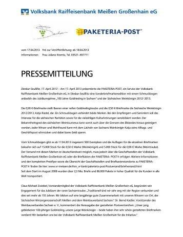 pressemitteilung - Volksbank Raiffeisenbank Meißen Großenhain eG