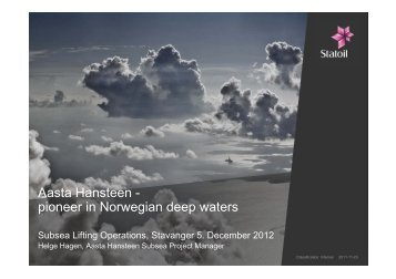 Aasta Hansteen - pioneer in Norwegian deep waters