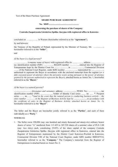 The Share Purchase Agreement - Ministerstwo Skarbu Państwa