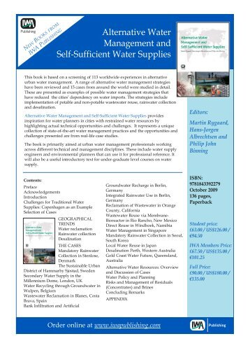 Alternative Water Management and Self-Sufficient Water Supplies