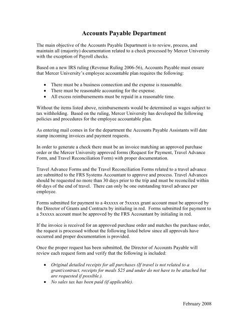 Accounts Payable Department - Mercer University