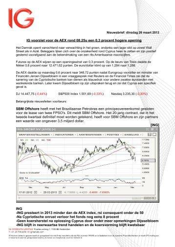 IG voorziet voor de AEX rond 08.25u een 0,3 procent hogere ...